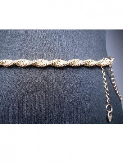 Золотистый пояс-цепочка с плетением косичка, фото 1