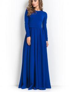Длинное синее платье под пояс на длинный рукав