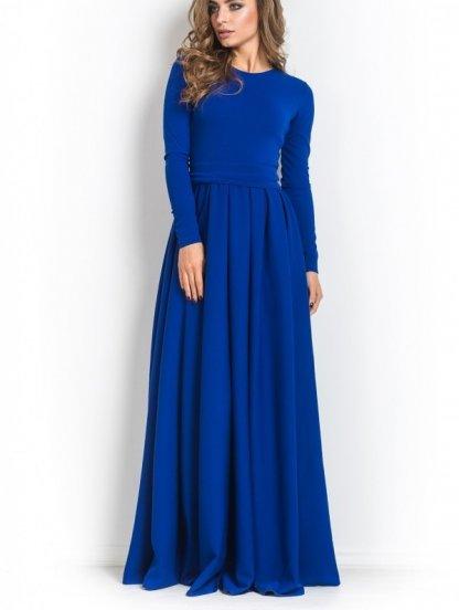 Длинное синее платье под пояс на длинный рукав, фото 1