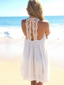 Летнее шифоновое платье туника с открытой спинкой