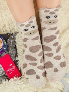 Длинные теплые носочки с изображением жирафа