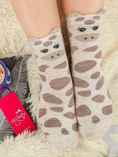 Длинные теплые носочки с изображением жирафа, фото 1