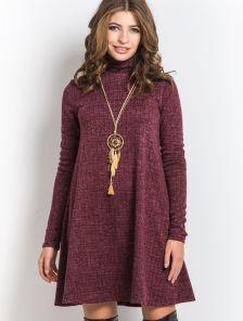 Ангоровое платье-трапеция бордового цвета в геометрический узор