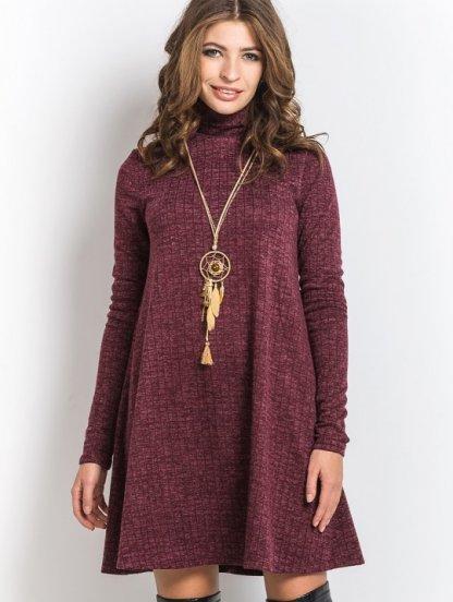 Ангоровое платье-трапеция бордового цвета в геометрический узор, фото 1