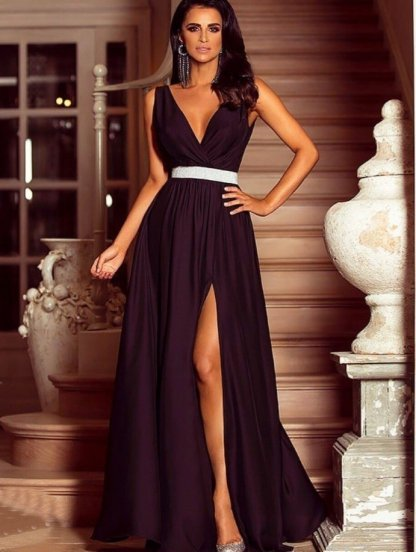 Вечернее шёлковое платье цвета баклажан под пояс, фото 1
