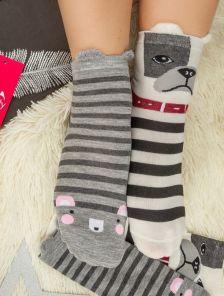 Длинные теплые носочки в черно-белую полосочку