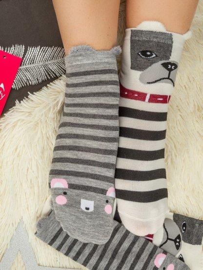 Длинные теплые носочки в черно-белую полосочку, фото 1