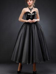 Черное фатиновое платье миди с пайетками