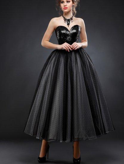 Черное фатиновое платье с пайетками, фото 1