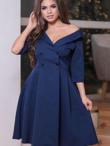 Синее платье-пиджак с юбкой солнце