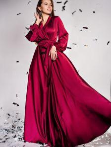 Дизайнерское платье на запах с воротником-шалью в бордовом цвете