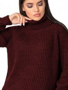 Теплый вязаный свитер бордового цвета универсального размера