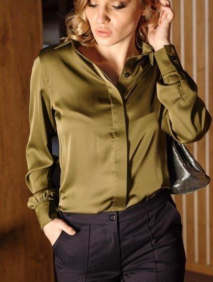 Шелковая рубашка цвета хаки с широкими манжетами, фото 1