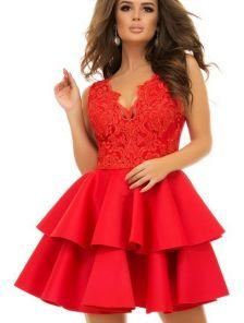 Красное коктейльное короткое платье с двойной юбкой
