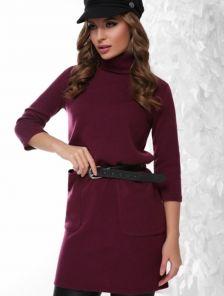 4ce4bb38b8f Ангоровое теплое платье-туника с карманами в бордовом цвете. Купить ...