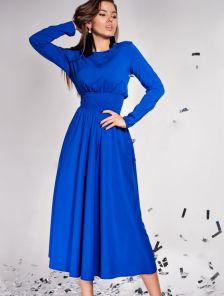 Синее платье-миди с широким поясом на длинный рукав