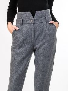 Женские теплые прямые брюки на высокой талии с карманами