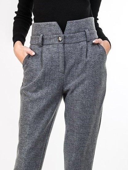 Женские теплые прямые брюки на высокой талии с карманами, фото 1