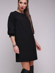 Черное классическое платье трапеция с рукавами фонариками