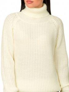 Теплый шерстяной вязаный свитер молочного цвета