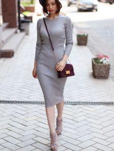Облегающее повседневное платье футляр