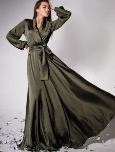 Дизайнерское платье на запах с воротником-шалью цвета хаки