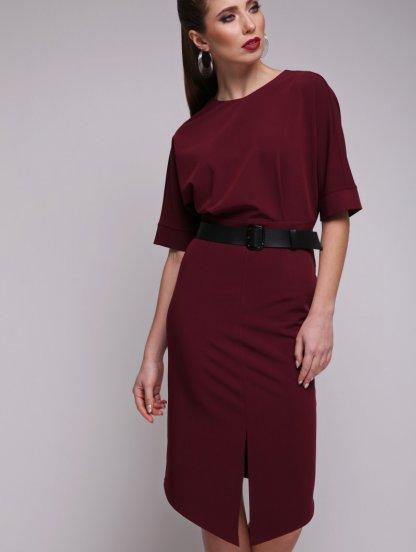 Бордовое короткое ассиметричное платье, фото 1