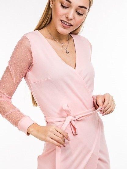 Розовое классическое платье с прозрачным рукавом и V образным вырезом, фото 1