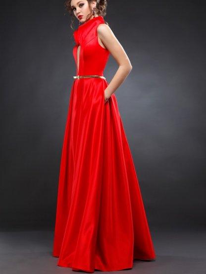 Нарядное красное платье с высоким воротником стойкой и карманами, фото 1