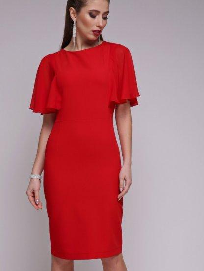 Вечернее красное облегающее платье с шифоновым рукавом, фото 1