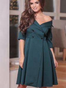 Изумрудное платье-пиджак с юбкой солнце