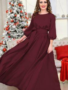 Вечернее темное платье с рукавом фонарик