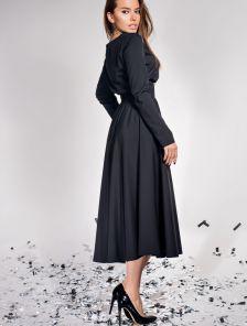 Нарядное темное платье с завышеной талией