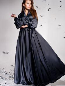 Дизайнерское платье на запах с воротником-шалью цвета графит