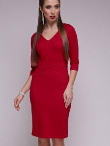 Красное базовое платье с рукавом 3\4