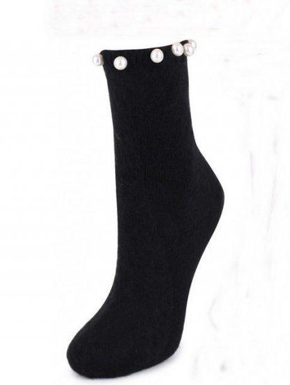 Черные теплые носочки с бусинками, фото 1