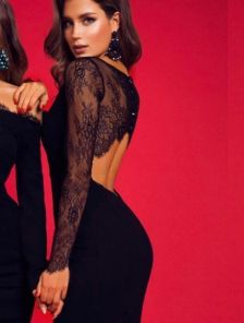 Вечернее черное платье с кружевной спинкой приталеного силуета