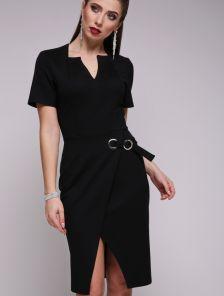 Черное модное платье с имитацией запаха и коротким рукавом