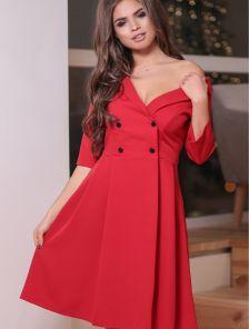 Красное платье-пиджак с юбкой солнце