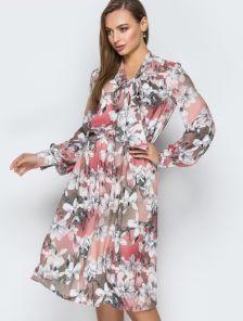 Платье длинны миди в цветочный принт