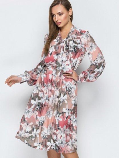 Платье длинны миди в цветочный принт, фото 1