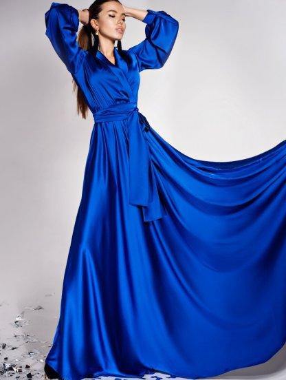 Дизайнерское платье на запах с воротником-шалью цвета электрик, фото 1
