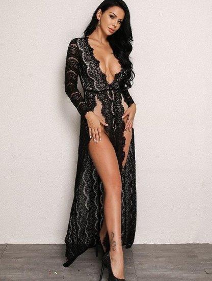 Вечернее платье в черном цвете с глубоким вырезом в белом цвете на подкладке, фото 1