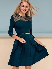 Элегантное платье с юбкой полу-солнце в изумрудном цвете