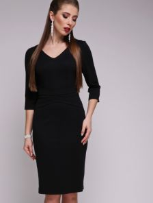 Базовое черное платье приталеного силуэта с рукавом 3\4