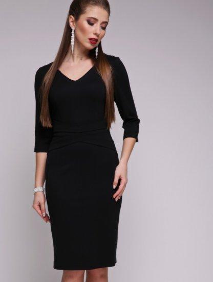 Базовое черное платье приталеного силуэта с рукавом 3\4, фото 1