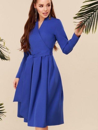 Короткое красивое синее платье с запахом, фото 1
