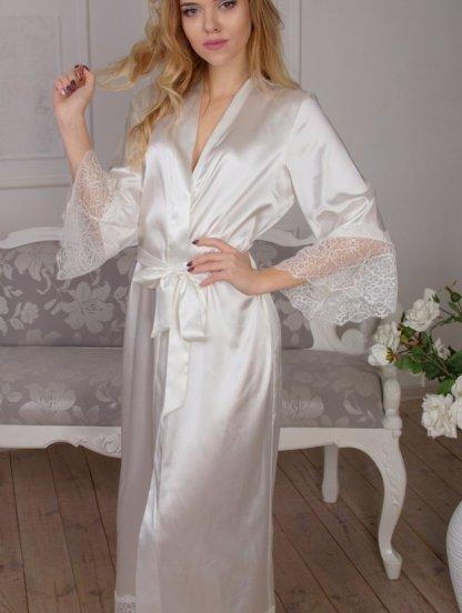Длинный белый халат со вставками кружева под пояс, фото 1