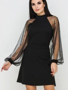 Короткое коктейльное платье с прозрачными широкими свободными рукавами