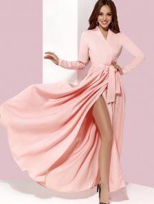 Длинное розовое платье с запахом